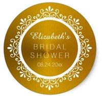 Wholesale 1 inch Gold Elegant Floral Swirls Bridal Shower Name Classic Round Sticker