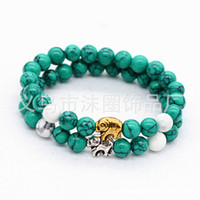 bad selling - Selling new white crystal Turquoise agate The elephant hand string bracelet bracelet accessories to ward off bad luck
