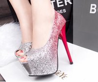 Wholesale Sexy Red Sandals Low Heel - Korean fashion fine with nightclub sexy high-heeled shoes waterproof peep toes super slim low sandals