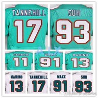 Wholesale Good quality jersey Men s Dan Marino Ryan Tannehill Ndamukong Suh elite jerseys White and Green Size