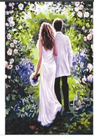 Wholesale Frameless wall decor diy painting by numbers hand painted canvas painting for living room cm Couple Decorative Landscape