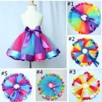 Wholesale Vintage Girls Party Tutu Skirt Summer Girls Skirt Tulle Baby Tutu Skirt With bow girls tutu Birthday Gift For toddler