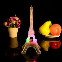 Wholesale 26cm height Colorful flash led light beautiful Eiffel Tower architecture interior decoration table lamps Christmas gifts