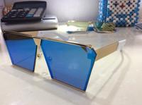 al por mayor los hombres gafas de sol espejo-Nuevo diseñador coreano de los sunglass del diseñador de los hombres Irresistor 012 modelo de la manera del espejo del cuadrado lente el estilo brillante fresco de gran tamaño viene con el caso oroignal