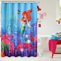 Wholesale Shower Curtain Little Mermaid Fairy Pattern Bathroom Waterproof Mildewproof Polyester Fabric With Fabric Inch Hooks