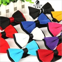 Wholesale 1 piece fashion brand bow tie polyester silk butterfly adjustable wedding bowtie bow ties for men colors