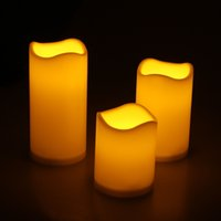 Wholesale 3pcs pack Battery Powered Ivory Flameless Pillar Candles LED Night Light With Key Remote Controller