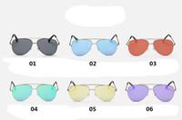 aviator eye glasses - 2016 fashion designer sun glasses retro Mirror Aviator sunglasses women fashion reflective color film metal outdoor Cat Eye sunglasses