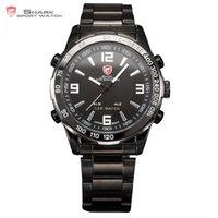 arinna ring - SHARK Sport Watch Analog LED Date Day Black Stainless Steel Ring Daily Water Resistant Men Quartz Running Wristwatch Gift SH010