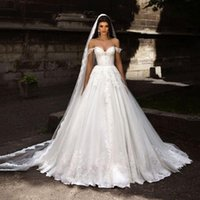 Wholesale Beautiful Off the shoulder Lace Straps Wedding Dresses Romantic Lace Applique A Line Princess Gown Chapel Train Tulle Bridal Dress