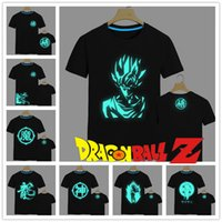 Wholesale Trendy Japan Men Anime Dragon Ball Z T Shirt Super Saiyan Fluorescent T Shirt Sun Wukong Tees Tops Men Clothes Plus size