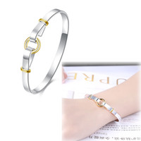 beautiful gold jewellery - Lucky Charms Bangle Fashion Silver Plated with Gold Color quot quot Bangle Bracelet Beautiful Jewellery for Women Party Jewelry Christmas Gifts