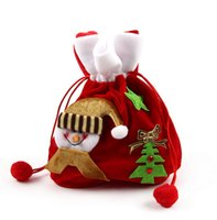Wholesale The new Christmas decorations High end gift pleuche beam pockets Santa Claus snowman gift bags