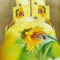 adult popular comforter set - Popular D Sunflower Butterfly Bedding Sets Queen Size Hot Sale Floral Duvet Covers Bed Sheet Pillowcase ROMORUS