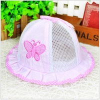 Wholesale Hot Selling Newborn Anti sun hats Girls Boys Summer Visor Caps Trendy Baby Toddler Butterfly Bowl Hat Cotton Mesh Breathable Cozy M