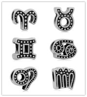 Wholesale vintage Stainless Steel Constellation large hole European Beads Zodiac Charms Fit European Bracelets sorority bracelets Fit pandora Jewelry