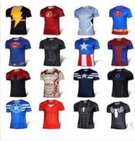 Wholesale Mans T Shirts short Sleeve High Elastic Fast Dry Tops Superman Batman Spider Man Super Hero Shirts Water Proof Sport Riding Outdoor Tops