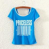 barred tee - New Women Shirt Short Sleeve Bar Code Letter Printed Crewneck Basic Tee Tops T shirts