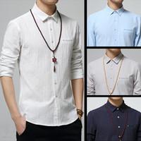 Wholesale High quality cotton fabrics new summer fashion V neck slim thin long sleeved casual shirt color metrosexual man
