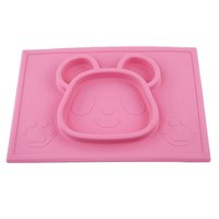 animal food bowls - Cute Children kids baby silicone placemat bear shape silicone placemat for kids children colors silicone food bowl Free DHL
