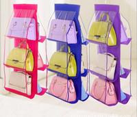 bag racks - 6 Pockets Hanging Storage Bag Purse Handbag Tote Bag Storage Organizer Closet Rack Hangers Color