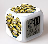 Wholesale 2016 Hot for New Me Dave Bob Kevin Cartoon Clock Minions fashion LED Change Digital Anna and Elsa Night Colorful Glowing ClockDespicable