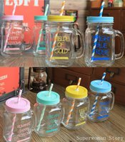 Wholesale Green Blue Yellow and Pink Mason jars with lids and straw mason jars with different letters