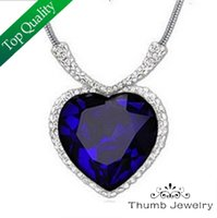 artificial gold jewellery - JS N009 Titanic Heart Of The Ocean Sapphire Necklace White Gold Plated Artificial Jewelry Women Fashion Gem Stone Jewellery