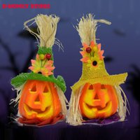 Wholesale 2016 Pumpkin Light Halloween Decoration New Convenient Scarecrow Lantern Lamp novelty Party Supplies kids party favors