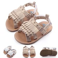 barefoot soles - Baby Girls Sequin Barefoot Sandals Summer Kids Mocassions Leather Tassels First Walkers Infant Newborn Toddler Booties Soft Sole Shoe YW