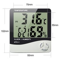 Wholesale For HTC High accuracy LCD Digital Thermometer Hygrometer Indoor Electronic Temperature Humidity Meter Clock Weather Station
