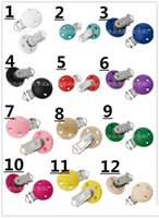 Wholesale 12 Color Wooden Baby Pacifier Clip Clamp Round White Rose Green mm Baby Feeding Pacifier Accessories KB516
