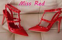 Wholesale HOT Big Size Designer cm cm Gladiator High Heels Women Shoes Nude Black Spikes T strap Pump Patent Leather Stud Lady Shoes Summer