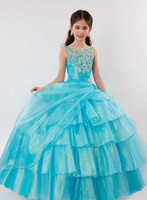 Wholesale Small Pageant Dresses - Autumn winter 2016 latest beauty girl small beautiful plus size dress PROM dress beaded layered pageant dress custom