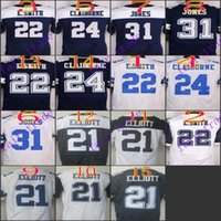 21 - NIK Elite Football Stitched Cowboys Draft Ezekiel Elliott Smith Jones Claiborne White Blue Thanksgiving Jerseys Mix Order