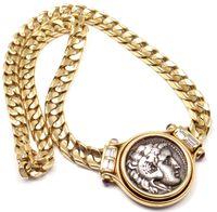ancient roman necklaces - 18k Yellow Gold Diamond Ancient Roman Coin Necklace