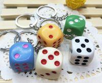 acrylic dice - Cute Dice Keychains Acrylic Key Pendant Car Keychain Colours In stock Hot Selling Via DHL Ship