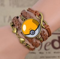 animal shaped glass beads - Go Jewelry Women Men Heart Shaped Glass Pokeball Leather Woven Bracelet Bangles TOP1368Z