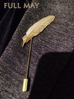 american retro brooch - 2015 Men Retro Golden Leaf Feather Brooch Pins Collar Suit Stick Breastpin Lapel Pin Men s Suit XZ