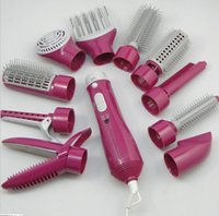 Wholesale 10 in Multifunction Professional Electric Hair Dryer Curler Hairdryer Styler Styling Brush Comb Straightener Diffuser H211047