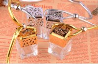 Wholesale Gold and silver plated glass bottle perfume bottle Pendant water cube square bottle