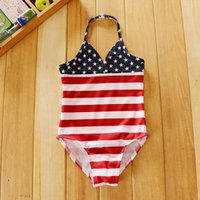 Wholesale New Arrival American Flag Baby Girls Swimwear one Piece Star And Stripe Cutes Girl Swimming Suit Kids Beach Wear