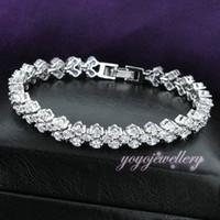 Wholesale 18K WHITE GOLD gp bangle bracelet wedding jewelry bride party Gift prong Setting Crystal B256