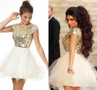 2016 Meilleures ventes Shiny Golden Sequins Girls Homecoming Dresses 2016 manches courtes Short Party Robes Robes Graduation Cheap