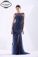 african bead patterns - 2016 new design slim fit women fashion Royal blue evening dress with leg slit see through tuller african evening dress pattern
