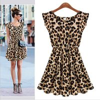 Wholesale Vintage summer Sexy women leopard Patchwork fold design club dresses Short Tank winter bodycon dresses night out club