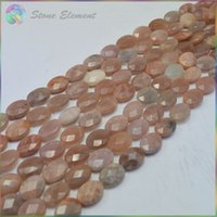 Wholesale Natural Brown Sand Moonstone Faceted Flat Oval Beads x14mm x18mm