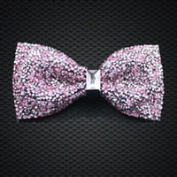 Wholesale Crystal Bow Ties Pink Color Mens Fashion Accessories Wedding Party Adjustable New Style Bow Ties F