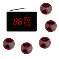 Wholesale SINGCALL Wireless Calling System black receiver service button red key for coffee shop KTV restaurant
