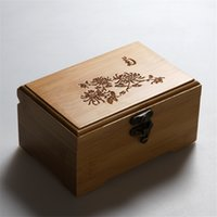 Wholesale Vintage wooden Storage Box classic elegant jewelry box sundries makeup organizer prints Style bamboo eco friendly container